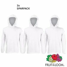 3x Fruit of the Loom Hoodie Herren  Langarm T-Shirt Longsleeve SPARPACK weiß