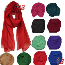 LADIES WOMENS PLAIN CHIFFON WRAP OVER SCARF HIJAB LOT HEAD SCARVES SHAWLS STOLE