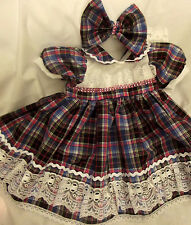 DREAM BABY CHRISTMAS PINK BLING TARTAN DRES & HBD NEWBORN TO 2 YEARS OR REBORNS