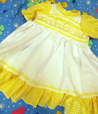 DREAM GIRLS LEMON WHITE GINGHAM FULLY LINED DRESS NB 3-6 MONTHS OR REBORN DOLLS