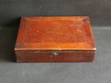 Antique 19th Century Mahogany Writing Box c1840 Wedgwood Inkwell with Key