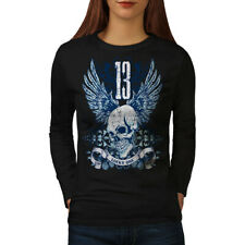 Lucky Thirteen Skull Women Long Sleeve T-shirt NEW | Wellcoda