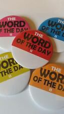 Personalised School Teacher Word of the Day English Sticker / Badge -any wording