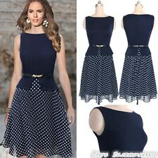 Women's Vintage Celeb Belted Polka Dot Party Wear To Work Chiffon Tunic Dress