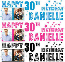 PERSONALISED BIRTHDAY BANNER PARTY PHOTO 18th 21st 30th 40th-any name age 6.5FT