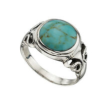 Argento Sterling Turchese Ovale Anello