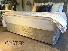 Crushed Velvet Elasticated Bed Valance / Divan Base Cover - Grey, Silver, Gold..