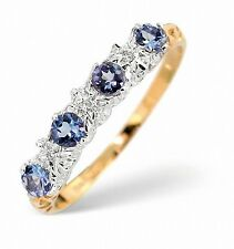 Diamante & 0.40ct Tanzanite Anello Eternity Misura F Z