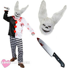 DELUXE KILLER WHITE RABBIT HORROR CIRCUS FANCY DRESS COSTUME MASK KNIFE CLOWN