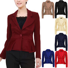 Ladies Womens Crop Frill Shift Slim Fit Peplum Blazer Jacket Coat 8-24 Plus Size