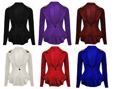 Ladies Womens Spike Frill Peplum Studded Blazer Jacket Coat UK 8-24 Plus Size