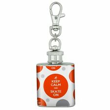 Stainless Steel 1oz Mini Flask Key Chain Keep Calm and P-Y