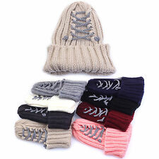 Mens Womens Corset Rope Beanie Knit Ribbed Crochet Skull Cuff Warm Ski Cap Hats