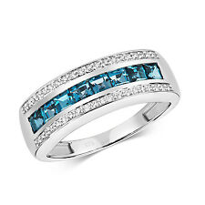 London Topazio Blu E Diamanti Anello Eternity 9ct Oro Bianco Marchiato