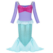 Child Mermaid Princess Party Outfit Fancy Dress Kids Girl Dress Up Costume 3-12Y