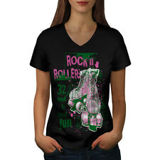 Rock and Rollers Fun Skate Shoes Women V-Neck T-shirt S-2XL NEW | Wellcoda