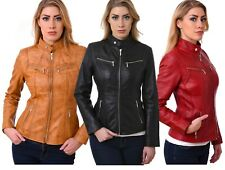 Leather Jacket Biker Style 4 Women Ladies Soft sheep Nappa 100% Genuine Leather