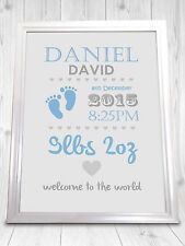 Personalised Christening Print, Boy and Girl, Perfect Gift - New Baby Present