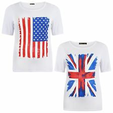 New Ladies Short Sleeve White Union Jack And American Flag Print T-Shirts 12-26