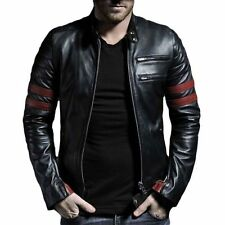 V4M Men's Red Stripe Biker Leather Jacket( 100%Genuine Sheep Leather)FREE GLOVES