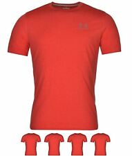 SPORTIVO Under Armour Charged Cotton Chest Lockup T Shirt Mens Red/Grey