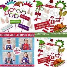 Christmas Elfie Selfie DIY Photo Booth Kits Xmas Party Props, Disguises & Bibs