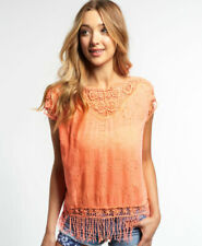 New Womens Superdry Lacy Schiffli Cape Top Fluro Coral