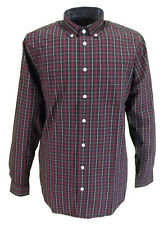 Farah Oxblood Checked Long Sleeved Cotton Retro Mod Button Down Shirts