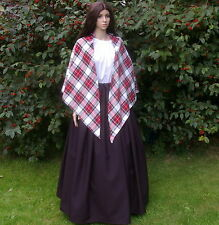 Ladies Victorian peasant mill worker 3pc costume fancy dress Dress Stewart shawl