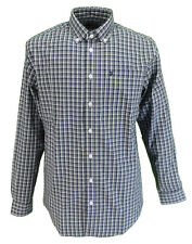 Farah Navy Checked Long Sleeved Cotton Retro Mod Button Down Shirts