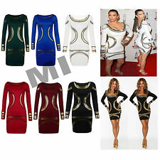 Womens Celeb Long Sleeve Gold Foil Print Bodycon Party Mini Dress 8-22 Plus Size