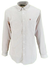 Farah White/Burgundy Checked Long Sleeved Cotton Retro Mod Button Down Shirts
