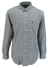 Farah Teal Gingham Long Sleeved Cotton Retro Mod Button Down Shirts