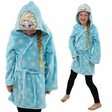 Disney Princess Frozen Elsa Hooded Blue Fleece Girls Dressing Gown Bathrobe