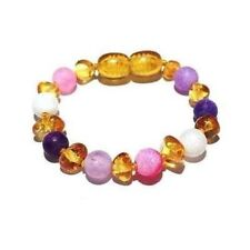 Child Amelie Pink Purple Dragon Agate And Honey Baltic Amber Anklet UK