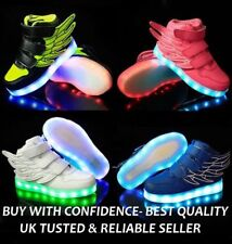 KIDS LED Flash Light Up USB Charge Shoes Trainers Sneakers for Boys & Girls
