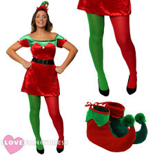 LADIES ELF COSTUME ADULT CHRISTMAS FANCY DRESS SANTA'S HELPER XMAS PARTY UK 4/16