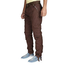 Greentree Mens Cargo Track Pant Coffee Brown Pure Cotton Casual Trouser MASR72