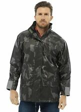 Mens Light Camo Waterproof Hooded  Print Outdoor Raincoat Jacket (Storm Rid)