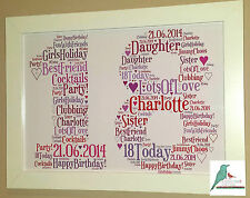 1st 18th 21st 30th 40th 50th 60th Birthday Personalised Word Art Gift Keepsake