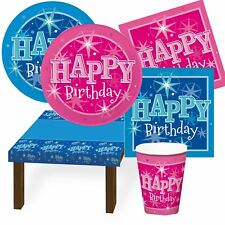 Blue Pink Happy Birthday Party Sparkle Tableware Supplies Plates Cups Napkins