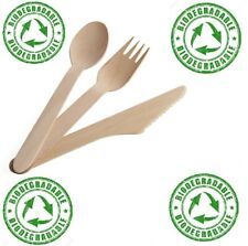 24 Disposable Spoons Forks Knives Wooden Cutlery Camping Party Table Picnic BBQ