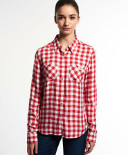 New Womens Superdry Super Classic Boyfriend Shirt Red Gingham