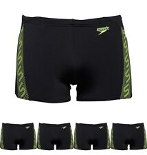 MODA Speedo Mens Monogram Aqua Shorts Black/Yellow 30