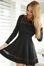Ladies Womens  Long Sleeve Contrast Mesh Insert Skater Bodycon Party Dress