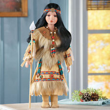 Collectible Native American Indian Porcelain Doll with Traditional Native Outfit