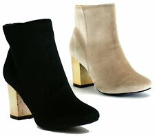 WOMENS LADIES GOLD MID HIGH HEEL CHELSEA LOW ANKLE BOOTS CHUNKY BLOCK SHOES SIZE