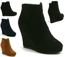 WOMENS HIGH WEDGE HEEL ANKLE BOOT PLATFORM ZIPPER BLACK PARTY SHOES BOOTS UK