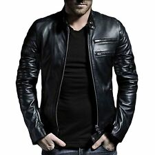 V4M Men's CS2  Biker  Leather Jacket( 100% Genuine Sheep Leather)