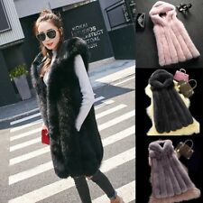 abrigo chaleco largo pelo Faux Fur Long Warm Jacket Vest Waistcoat Outerwear